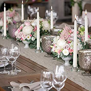 NIKY Taper Candles 10 Inch Tall Dripless Smokeless Unscented Candles for Holiday Decoration Dinner Set of 12(Ivory) Wedding