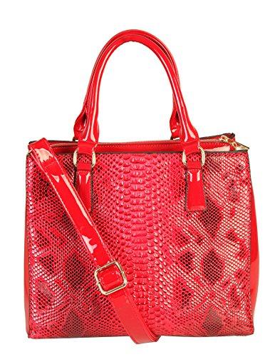 Rimen & Co. Shiny Patent PU Leather Crocodile Texture Large Tote Womens Purse Handbag SW-2821 (Red)