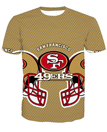 Men's O-Neck Short Sleeve3D Print San Francisco 49ers Football Team Summer T-Shirts(XL,Khaki)