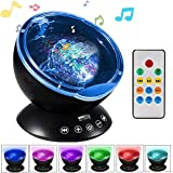 Ocean Wave Projector Night Light, Built-in Soft Music Player Projector Lamp Remote Control, (12 LED +7 Lighting Colorful Modes+ Timing&Angle Rotatable+ TF Card Slot) for Kids Bedroom,Party,Festival Décor, Bathroom,Nursery-Black
