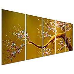 Pure Art Joys of Spring - Cherry Blossom Flower Tree - Large Metal Wall Art Decor - Contemporary Hanging Sculpture of Yellow, Brown, Gold and Pink - Perfect for Any Room - Set of 5 Panels 64 x 24