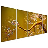 """Joys of Spring - Cherry Blossom Flower Tree - Yellow Large Metal Wall Art Decor Perfect for Any Room - Set of 5 Panels 64"""" x 24"""""""