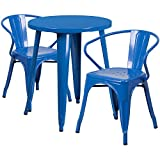 Flash Furniture 24'' Round Blue Metal Indoor-Outdoor Table Set with 2 Arm Chairs