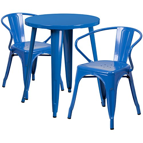 24'' Round Blue Metal Indoor-Outdoor Table Set with 2 Arm