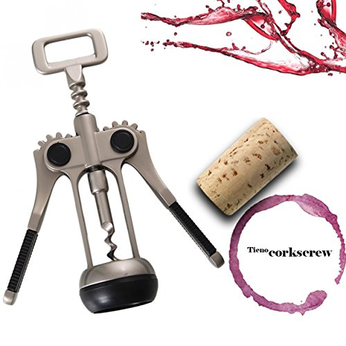 TIENO Premium Wing Corkscrews Wine Opener Durable 2 Functions Red Wine Bottle Opener Heavy-dust, Dignified Appearance by TIENO