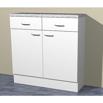 Küchen Unterschrank in verschiedenen breiten Start Melamin weiß/weiß (40cm  breit)