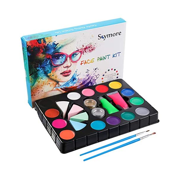 SKYMORE-Face-Paint-Kit-for-Kids-14-Water-Paints-Brushes-Sponges-Glitters-Halloween-Makeup-Safe-for-Sensitive-Skin-Washable-for-Birthdays-Social-Events