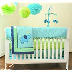 Zig Zag Elephant Mix & Match 10 Piece Crib Bedding, by Pam Grace Creations Green