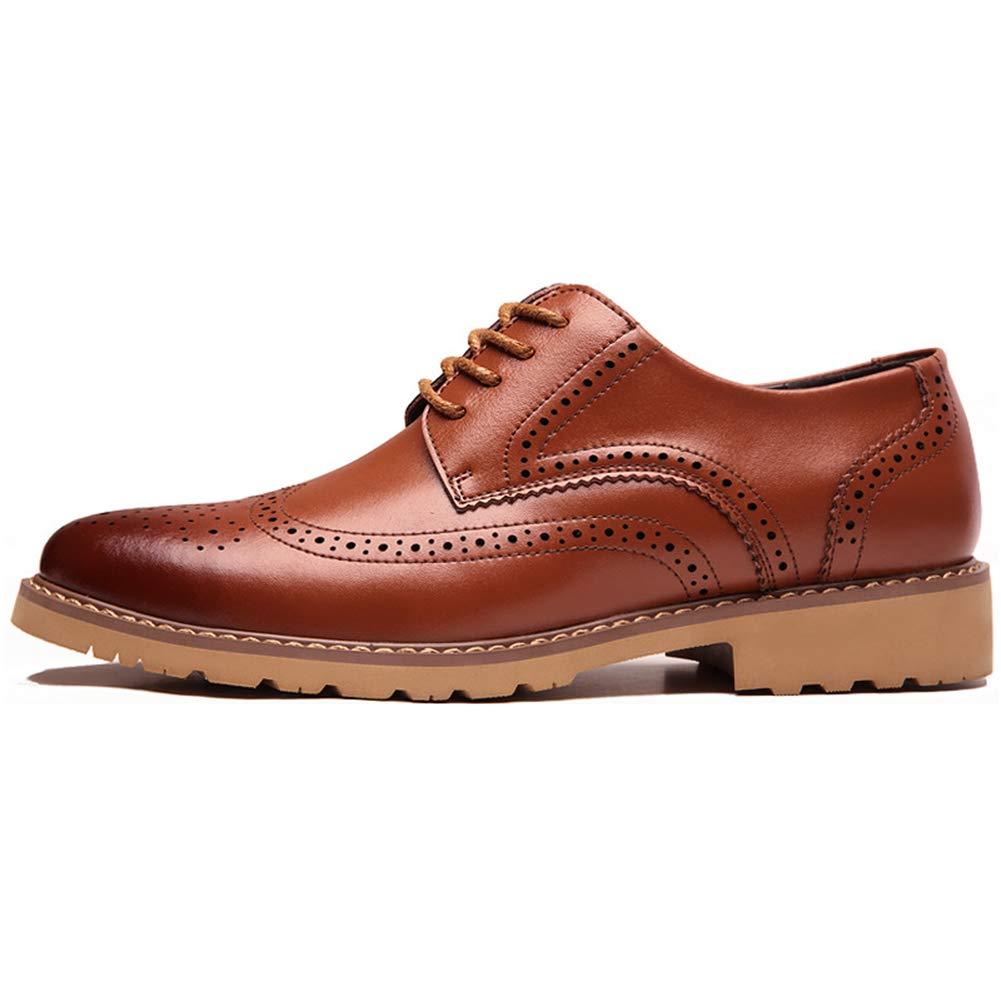 LXYIUN Herren Businessschuhe,Lederschuhe Geschnitzte Business-Schuhe Business Schuhe mit Schnürsenkel,Gelb,38