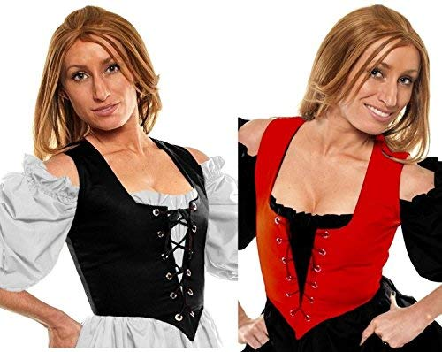 Faire Lady Designs Renaissance Halloween Costume Caribbean Pirate Peasant Wench Corset Red/Black (2X:Bust: 50