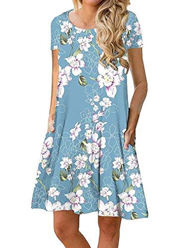 Sherosa Women's Short Sleeve Summer Floral Casual Swing T-Shirt Dress with Pockets (XXL, Short Sleeve Blue)]()