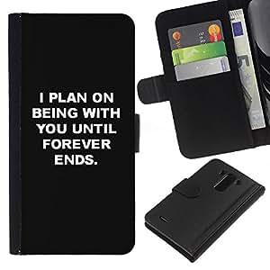 A-type (Being With You Love Black White Inspiring) Colorida Impresión Funda Cuero Monedero Caja Bolsa Cubierta Caja Piel Card Slots Para LG G3