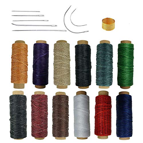 - 12 Colors Leather Waxed Thread,660 Yards 150D Sewing Waxed for Leather Craft DIY,with Thimble and Stitching Needles
