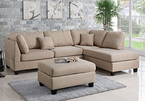 Modern Contemporary Polyfiber Fabric Sectional Sofa with Reversible Chaise and