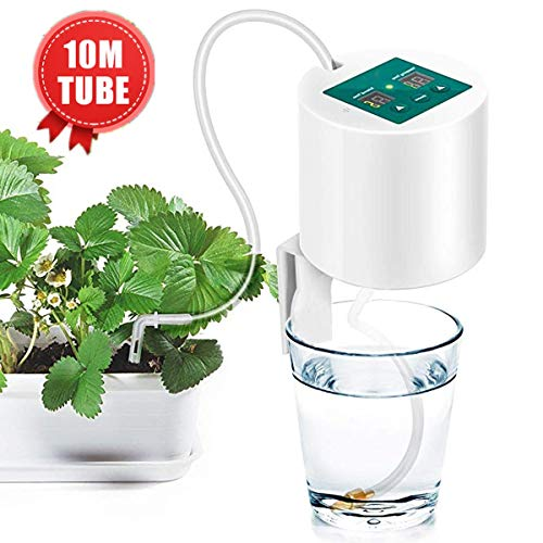 Janolia Automatic Irrigation Kit, Self Watering System, with Electronic Water Timer, 10m Tube, Automatic Drip Watering System for Gardens, Balconies, Hanging Baskets, Potted Plants
