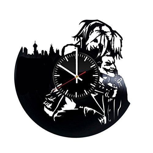 Welcome Everyday Arts Harley Quinn Joker Vinyl Record Wall Clock - Get unique living room wall decor - Gift ideas for boyfriend and girlfriend - DC Comics Supervillains Unique Modern Art -
