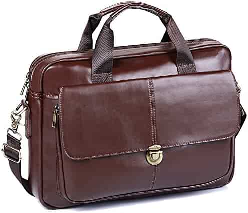 Men's Briefcase TECOOL Genuine Leather Laptop Business Shoulder Bag Messenger Bag Satchel Bag
