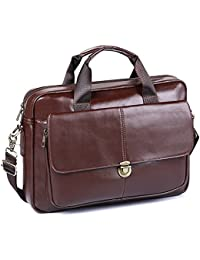 Men's Briefcase TECOOL Genuine Leather Laptop Business Shoulder Bag Messenger Bag Satchel Bag