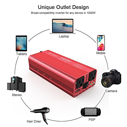EBTOOLS Car Power Inverter, 1000W/2000W Inverter 12V DC to 110V AC Car Converter with 2 AC Outlets and 2.1A USB port for Laptop, Smartphone, Household Appliances in case Emergency, Storm and Outage by EBTOOLS (Image #2)