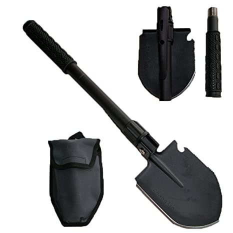 Trench Entrenching Tool Hiking Car Emergency etc. Fishing Backpacking IUNIO Military Portable Folding Shovel and Pickax with Tactical Waist Pack Army Surplus Multitool for Camping