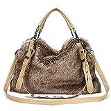 Christmas Gift-Women's Handbags Large Faux Fur Shoulder Bag Satchel Corssbody Bag Tote Bags for Women (Fur0910A)