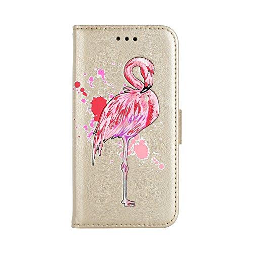 Funda Galaxy S8 , Bolso Galaxy S8, E-Lush Premium Cuero Wallet Flip PU Case Caja para Samsung Galaxy S8 G950F G50FD (5.8 Pulgadas) Flamenco Impresión Diseño Tapa con Suave Silicona Caso Interna Cierre Oro