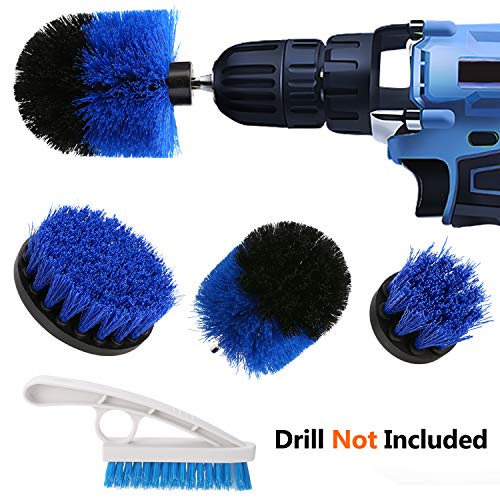 PTPTRATE Power Drill Brush Set - 3 Piece Drill Brush Attachment & Tile Grout Brush Kit for Cleaning Tiles, Grout, Bathroom, Tub, Floor and Kitchen Surfaces