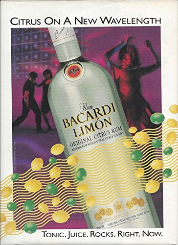 (MAGAZINE AD For 1995 Bacardi Limon Rum Citrus On A New Wavelength Large Ad)