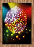 Popstar Party Area Rug by Ambesonne, Vibrant Colorful Disco Ball Nightclub Celebration Party Dance and Music Print, Flat Woven Accent Rug for Living Room Bedroom Dining Room, 5.2 x 7.5 FT, Multicolor
