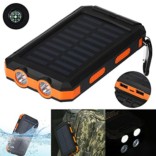 Price comparison product image Livoty Waterproof 20000mAh Dual USB Portable Solar Charger Solar Power Bank For Phone