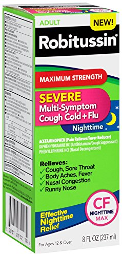 Robitussin Severe CF (8 fl. oz. Bottle) Maximum Strength Cough, Cold, Flu Nighttime Medicine