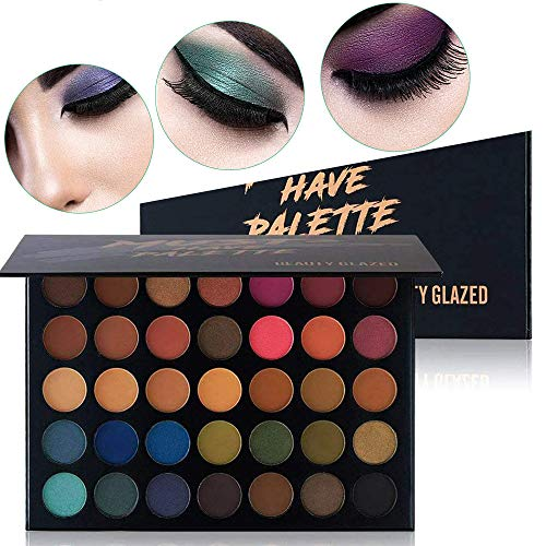 af618e04f056 Beauty Glazed Make Up Eyeshadow Palette 35 Colors Blendable Chunky  Pigmented Matte and Shimmer Pop Colors Eye Shadow Powder Waterproof Eye  Shadow ...
