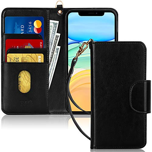 """FYY Case for iPhone 11 6.1"""", [Kickstand Feature] Luxury PU Leather Wallet Case Flip Folio Cover with [Card Slots] and [Note Pockets] for Apple iPhone 11 6.1 inch Black"""