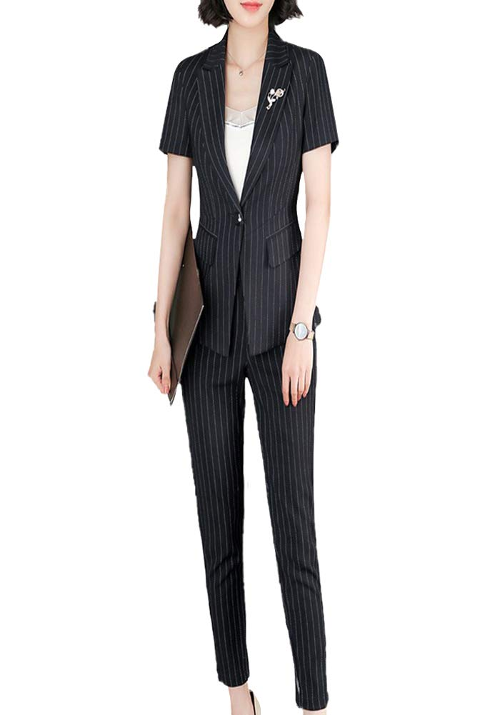 Women 2 Pieces Striped Blazer Office Lady Suit Single Button Bussiness Set for Work Skirt and Jacket