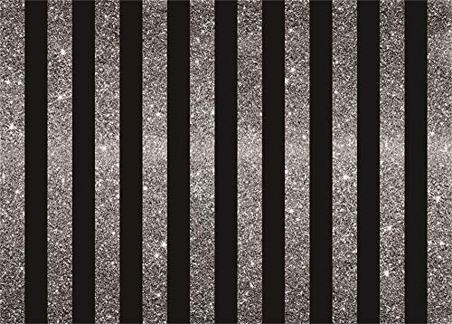 AOFOTO 7x5ft Black Silver Striped Backdrop Vinyl Kids Adults Father Mother Birthday Party Events Decoration Background Cloth for Photography Photo Studio Props Wallpaper ()