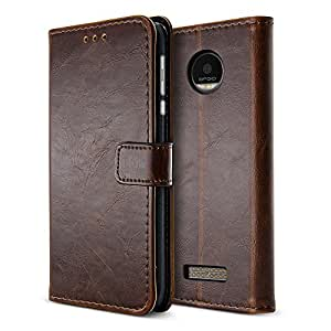 BELK Motorola Moto Z Play Droid Case, Retro Vintage Leather Wallet Case for Motorola Moto Z Play Droid 2016, Classic Magnetic Snap Folio Flip Card Cover with Stand Function - Brown