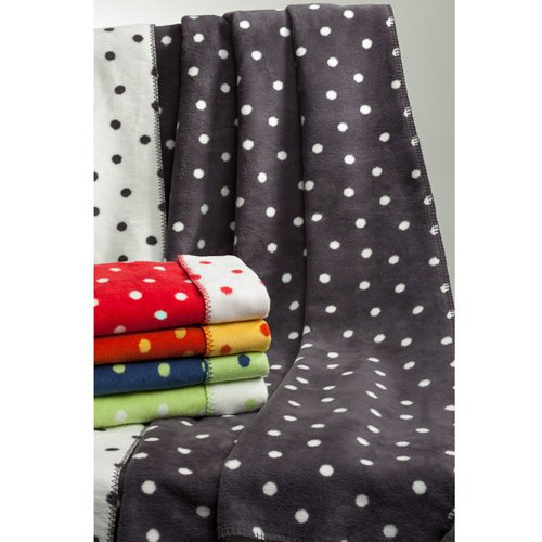 Richter Wolldecke Punkte aus 100 % Bio-Baumwolle in unterschiedlichen Farben und 3 Größen, 41815-1636 Feuerrot/Daune 100 x 150 cm