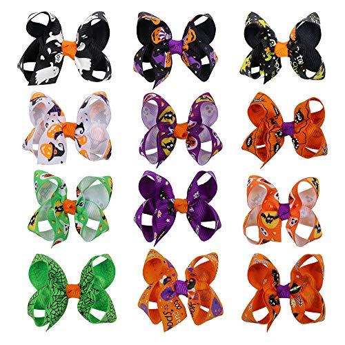 CN 12pcs Halloween Hair Bow Pumpkin Grosgrain Pinwheel Clips for Girls Kids Teens -