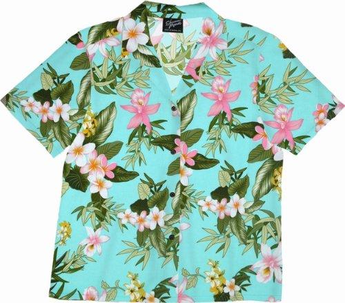 Tropical Floral Camp Shirt - RJC Womens Orchid Plumeria Camp Shirt Aqua 1X Plus