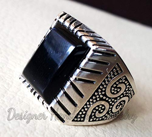 (BLACK ONYX STONE HEAVY MAN RING STERLING SILVER 925 NATURAL AGATE RECTANGULAR CABOCHON HEAVY JEWELRY ALL SIZES OTTOMAN TURKISH VINTAGE STYLE)