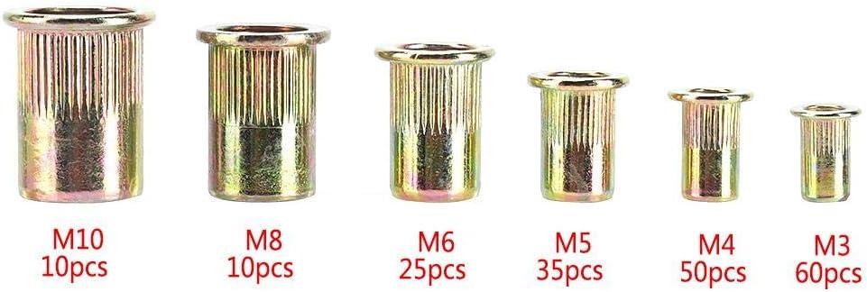Surtido de tuercas de remache roscado plano con brida de remaches y remaches acero al carbono 190 unidades