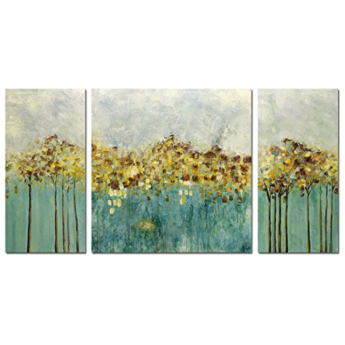 Metuu Oil Paintings, Golden Harvest - Texture Palette Knife Paintings Modern Home Decor Wall Art Painting Wood Inside Framed Ready to hang 32x64 Inch