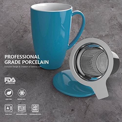 Sweese 2107 Porcelain Tea Mug with Infuser and Lid, 15 OZ, Steel Blue by Sweese (Image #2)