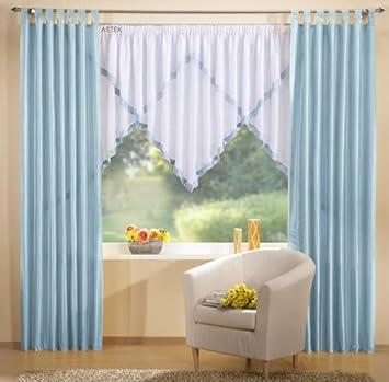 Gardinen Set, 2 x Deko Taft Vorhang, Schlaufen, 245x140, Hellblau ...