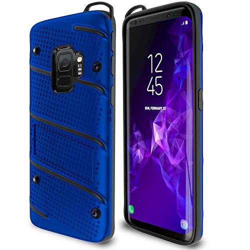 Samsung Galaxy S9 Case Military Grade 15ft Drop Tested Protective Case With Kickstand Shockproof Dual Layer Heavy Duty Compatible With Samsung Galaxy S9 Blue