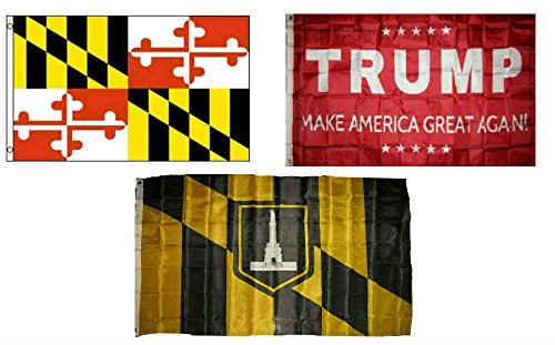ALBATROS 3 ft x 5 ft Trump Red with State Maryland with City Baltimore Set Flag for Home and Parades, Official Party, All Weather Indoors Outdoors -