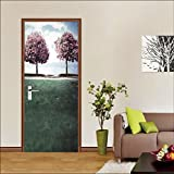 "3D Trees View 419 Door Wall Mural Photo Wall Sticker Decal Wall | Self-adhesive 3D Door Wall Mural , AJ WALLPAPER US Lemon (Vinyl (No Glue & Removable), 【81""x32""】205x82cm(HxW))"