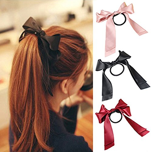 3pcs(Pink+Black+Red) Fashion Satin Ribbon Bow Hair Band Rope Ponytail Holder Best for Women - Satin Ladies Bow Circle