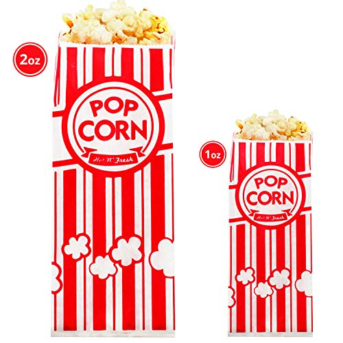 Carnival King Paper Popcorn Bags 1oz (200 Pieces) - Popcorn Bags 2 oz (200 Pieces) - Popcorn Bags for Party Bundle - Complimentary CUSINIUM Coasters, Ebook ()