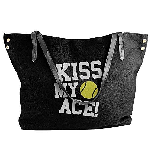 Women's Canvas Large Tote Shoulder Handbag Kiss My Ace Tennis (Ace Tennis Tote)